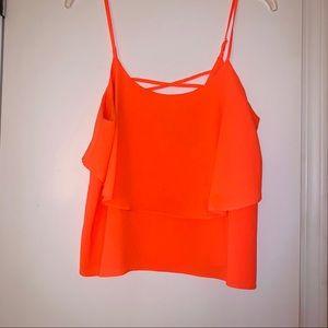 Bright orange strappy top